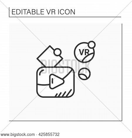 Vr Player Line Icon. Customizable Media Player For High Definition Vr Video Playback, Immersive Medi