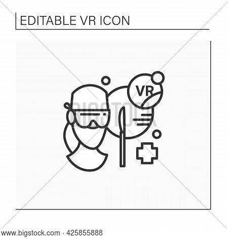 Vr Surgery Line Icon. Training And Assessment Platform That Allows Surgeons Train, Assess Using Adva
