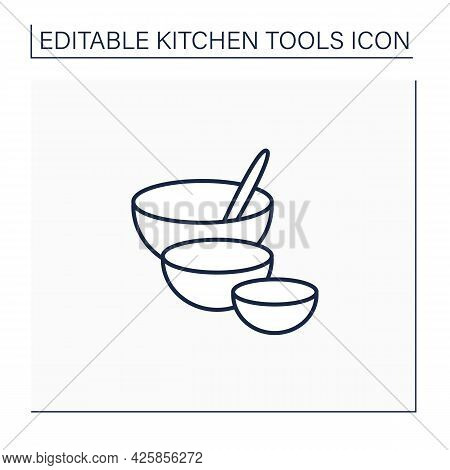 Mixing Bowls Line Icon. Deep Bowls. Used To Mix Ingredients Together In. Cooking Utensils. Kitchen T