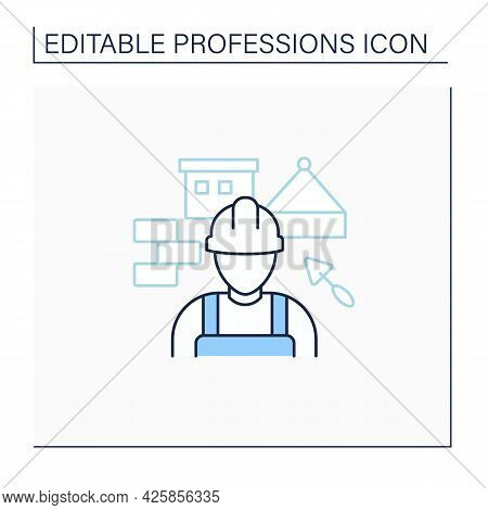 Builder Line Icon. Man Build Or Repair Houses.construction Worker. Important Job.professions Concept