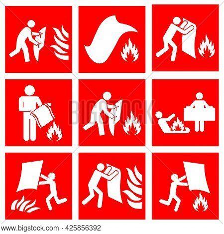 Set Of Fire Blanket Symbol Sign, Vector Illustration, Isolate On White Background Label. Eps10