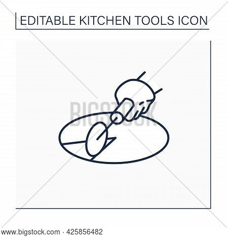 Pizza Cutter Line Icon. Roller Blade. Pizza Wheel. Cooking Utensils. Kitchen Tools Concept. Isolated