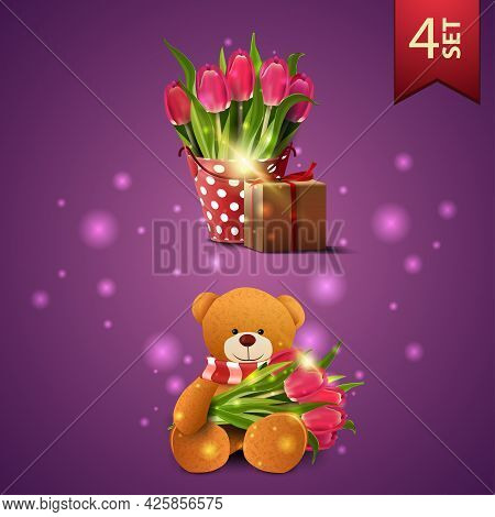 Set Of Women's Day Icons, Bucket With Tulips, Gift And Teddy Bear With A Bouquet Of Tulips