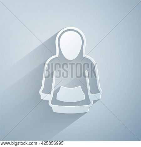 Paper Cut Hoodie Icon Isolated On Grey Background. Hooded Sweatshirt. Paper Art Style. Vector