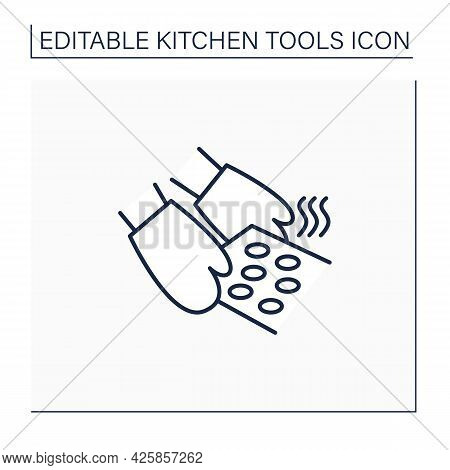 Oven Mitts Line Icon. Insulated Glove.used To Protect Hands From Hot Ware. Kitchen Tools Concept. Is