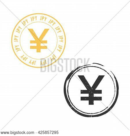 Japan Yen Jpy Grunge Stamp Seal Vector Design. Currency Mainstream Symbol With Grunge Stamp Seal Sty