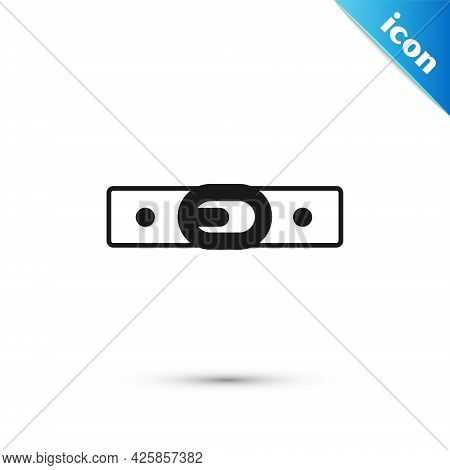 Grey Leather Belt With Buttoned Steel Buckle Icon Isolated On White Background. Vector