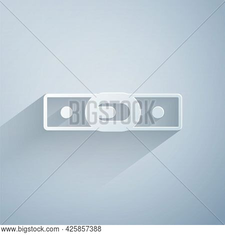 Paper Cut Leather Belt With Buttoned Steel Buckle Icon Isolated On Grey Background. Paper Art Style.