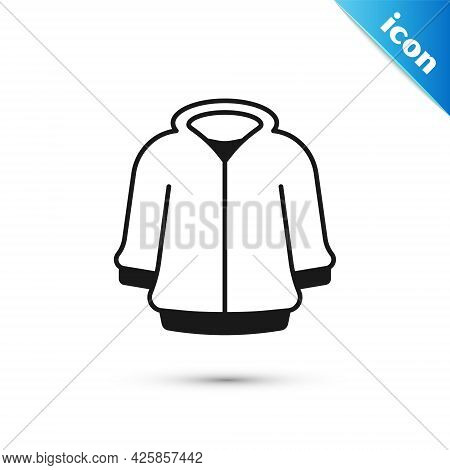 Grey Hoodie Icon Isolated On White Background. Hooded Sweatshirt. Vector