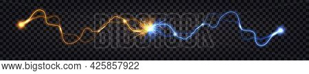 Electric Discharge Collision, Blue Vs Yellow Lightning Thunder Bolt. Glowing Electric Shock Effect,