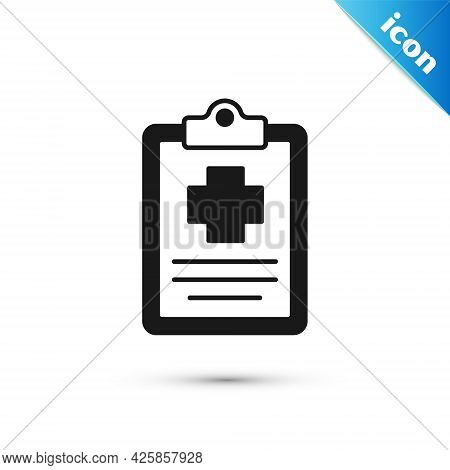 Grey Medical Clipboard With Clinical Record Icon Isolated On White Background. Prescription, Medical
