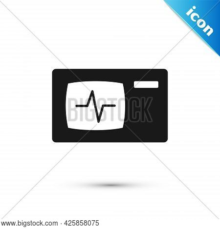 Grey Computer Monitor With Cardiogram Icon Isolated On White Background. Monitoring Icon. Ecg Monito