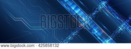 Vector Futuristic Circuit Board. Computer, Internet Connection. Template For Hi-tech Banner Or Prese