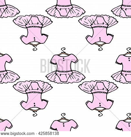 Vector Seamless Pattern Of A Ballet Tutu With An Isolated Element On Hangers, Hand-drawn In The Sket