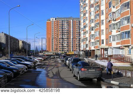 Balashikha, Russia - March 19, 2021. New Residential Neighborhood On The Spring Sunny Day. View Of T