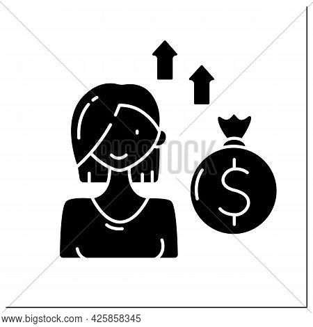 Venture Female Capitalist Glyph Icon.private Equity Financing Provided By Venture Capital Firms, Fun