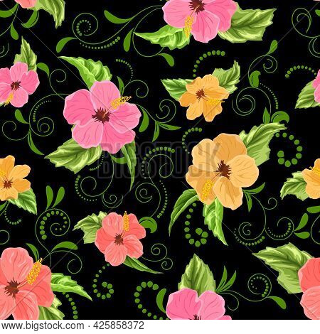 Hibiscus Flowers With Curls In A Pattern.vector Pattern With Hibiscus Flowers And Curls On A Black B