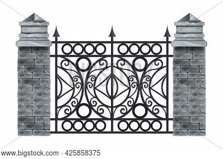 Iron Wrought Fence Vector Illustration, Old Ornate Black Steel Frame, Stone Brick Pillars, Isolated