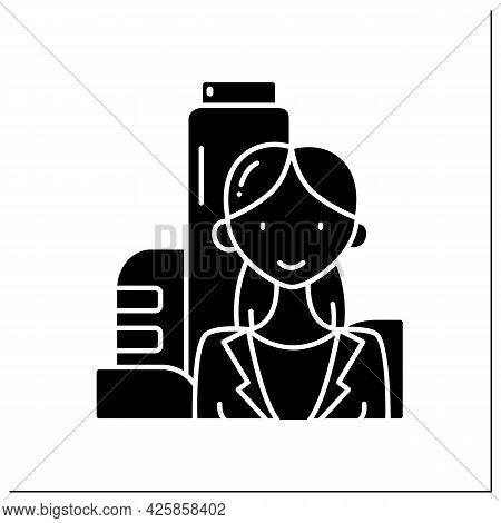 Female Founder Glyph Icon. Successful Businesswoman. Profitable Startup. Prosperous Business Founder