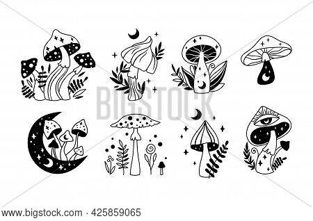 Boho Mystical Celestial Mushrooms Isolated Cliparts Set