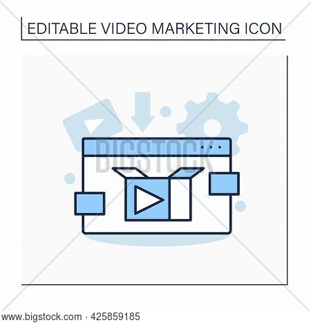 Product Video Line Icon.explainer Video Clip Demonstrates Product Benefits.tutorial Video Shows How