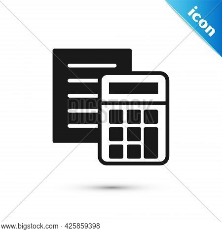 Grey Calculator Icon Isolated On White Background. Accounting Symbol. Business Calculations Mathemat