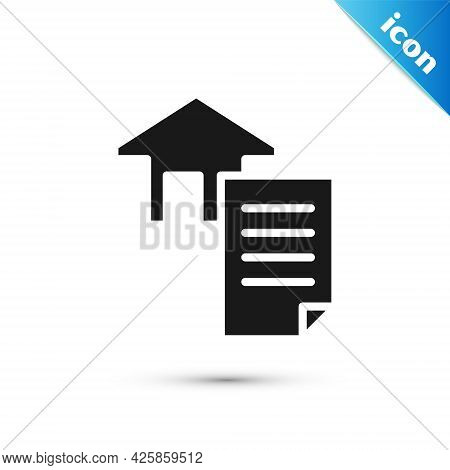 Grey House Contract Icon Isolated On White Background. Contract Creation Service, Document Formation