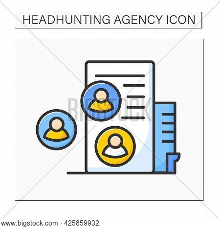 Recruitment Agency Color Icon. External Firms Find Suitable Candidates For Employers. Headhunting Ag