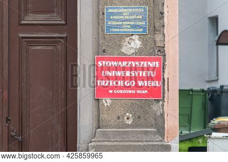 Gorzow Wielkopolski, Poland - June 1, 2021: Sign In Polish Language Third Age University Association
