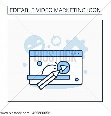Animated Videos Line Icon. Animation To Show Products Or Services In Certain Companies. Attract View