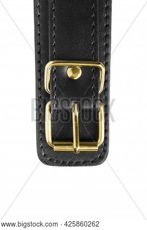 Black Leather Belt With Golden Buckle Closeup On White Background