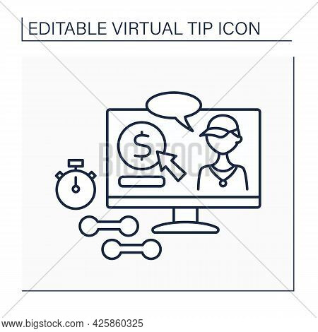 Donations Line Icon. Online Contributions For Sportsmen. Digital Tips For Developing And Supporting
