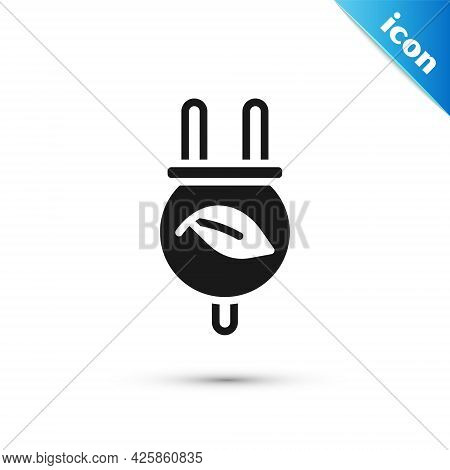 Grey Electric Saving Plug In Leaf Icon Isolated On White Background. Save Energy Electricity. Enviro