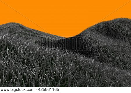 Frightening Dark Highly Detailed Hills Isolated On Orange Background For Halloween Or Any Other Scar