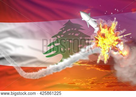 Strategic Rocket Destroyed In Air, Lebanon Supersonic Missile Protection Concept - Missile Defense M