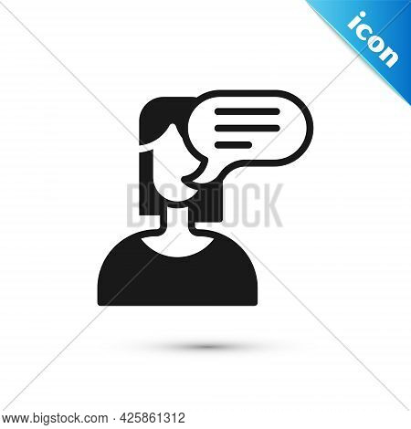 Grey Female Opinion Icon Isolated On White Background. Vector