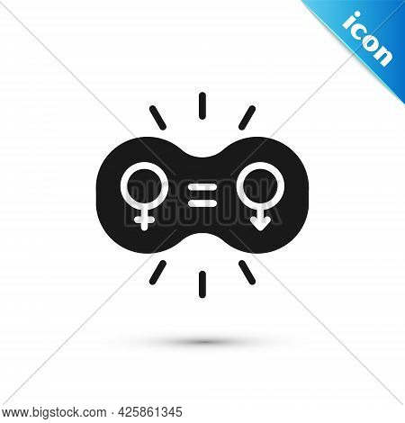 Grey Gender Equality Icon Isolated On White Background. Equal Pay And Opportunity Business Concept.