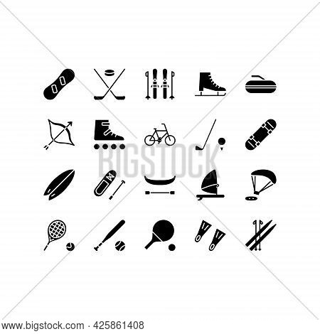 Sport Equipment Flat Line Icons Set. Sports Games Equipment And Activities. Simple Flat Vector Illus