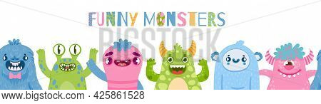 Halloween Monsters Banner. Happy Monster Party With Cute Characters. Cartoon Scary Funny Monster And