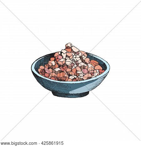 Bowl Of Pink Himalayan Salt, Hand Drawn Vector Illustration Isolated On White.