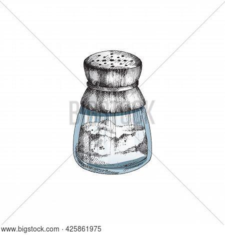 Glass Salt Shaker Container Engraving Monochrome Vector Illustration Isolated.