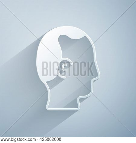 Paper Cut Baldness Icon Isolated On Grey Background. Alopecia. Paper Art Style. Vector