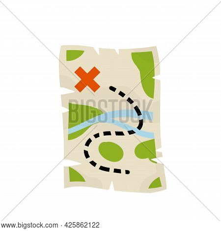 Treasure Pirate Map. Route With A Red Cross Of The Goal. The Path And The Road. Old Paper Sheet. Car