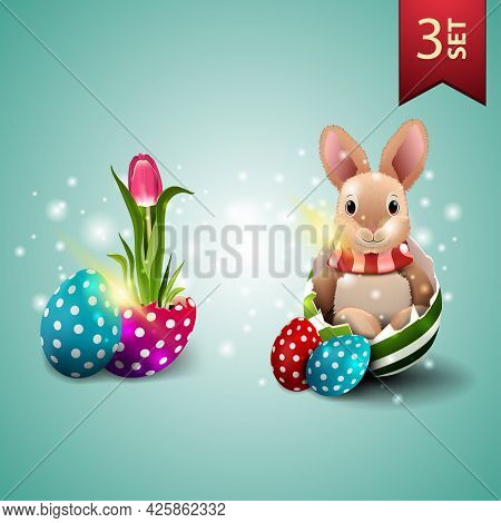 Set Of Easter Icons, Tulip Growing From Easter Egg And Easter Bunny In Egg