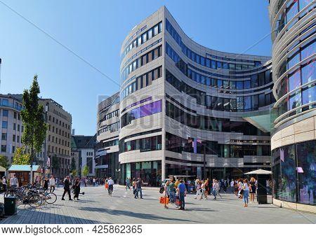 Dusseldorf, Germany - September 19, 2020: People Visit Schadow Square (schadowplatz) In Downtown Dus