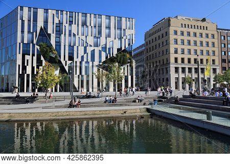 Dusseldorf, Germany - September 19, 2020: People Visit Downtown Dusseldorf, Germany. Dusseldorf Is T