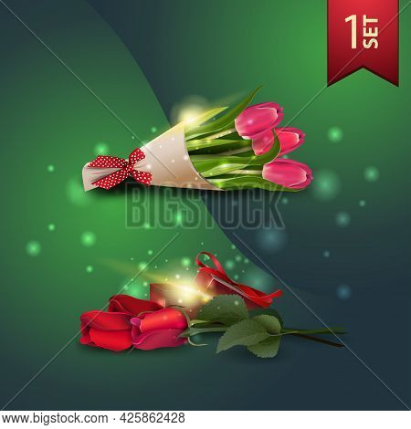 Set Of Icons For Spring Celebrations, Bouquet Of Tulips And Roses With Gift