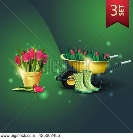 Set Of Icons For Spring Celebrations, Bouquet Of Tulips In A Yellow Bucket And Garden Wheelbarrow Wi