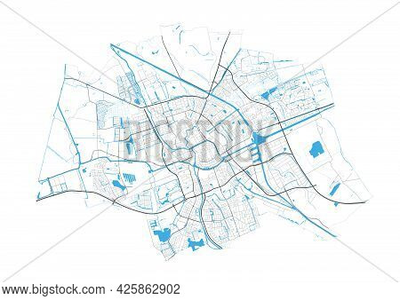 Groningen Map. Detailed Map Of Groningen City Administrative Area. Cityscape Panorama. Royalty Free