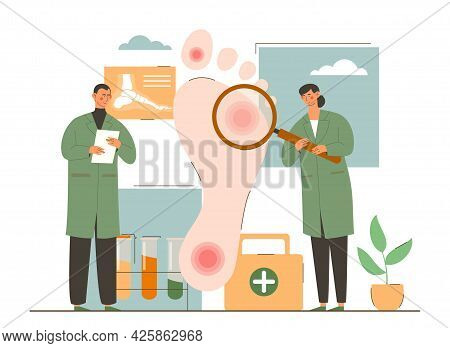 Male And Female Podiatry Doctors Are Examining Foot Of Patient With Magnifier. Concept Of Doctor Sur